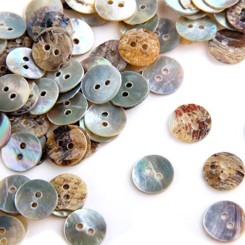 NOCM Hot 100 x 10 mm Pearl Mussels Round Buttons
