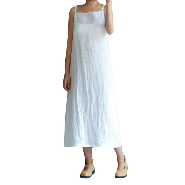 e0a19fe98a Women's Sexy Summer Dress Cotton Embroidery Dresses Solid Loose Sleeveless  Lady Sundress Casual Brand Dresses Plus Size Vestido