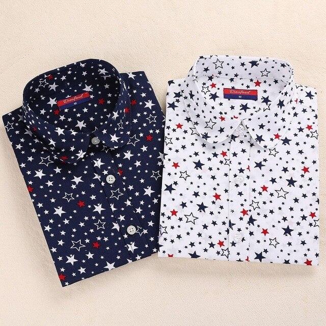 c97a41624 dioufond nova camisa blusa feminina manga longa estampada diversas de  algodão feminina Blusa casual Turn Down