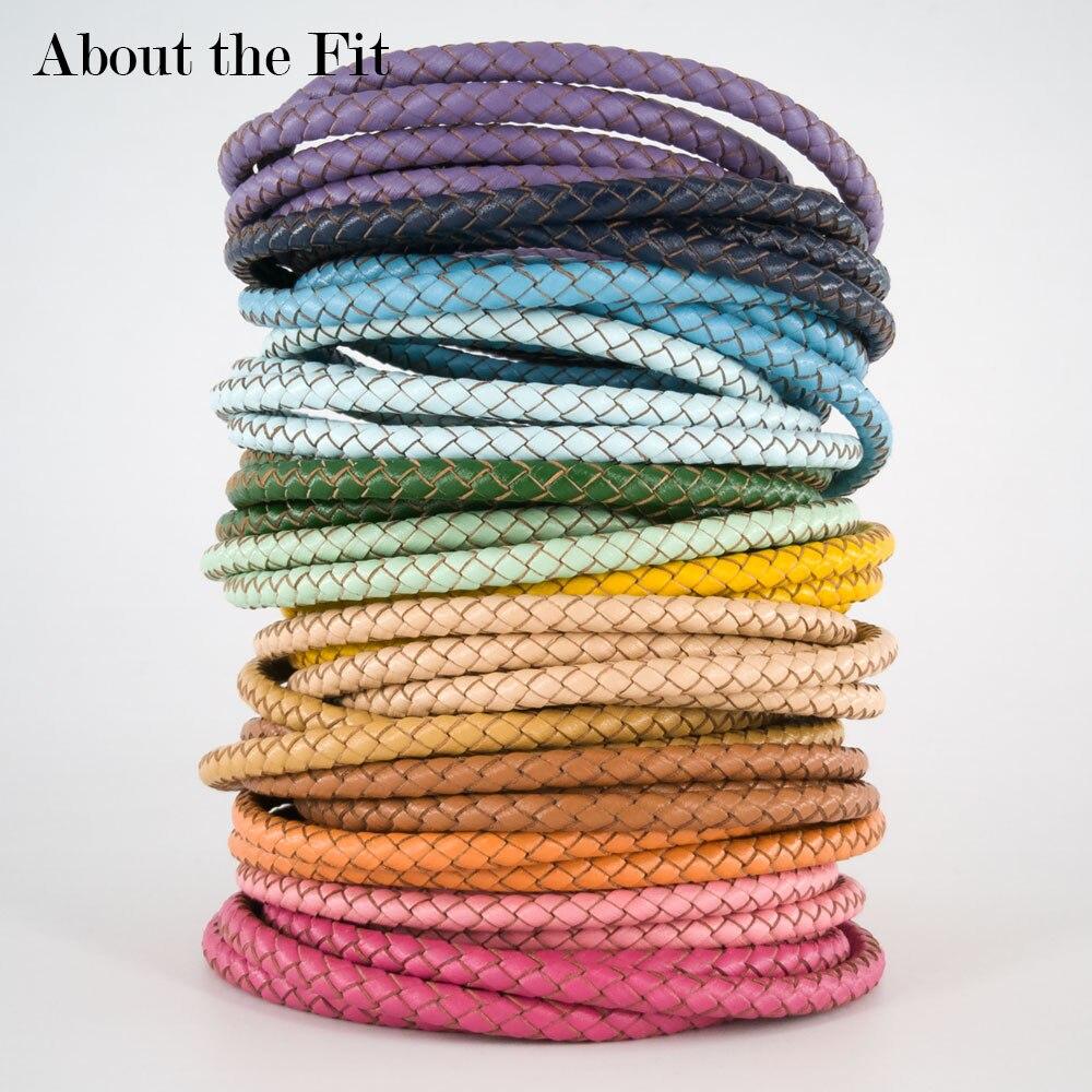 Acerca del ajuste de 5mm 1 metro de cuero genuino trenzado borde de corte de cuero Real artesanías cuentas accesorios cordón cuerda tejida