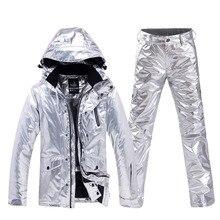 Блестящий мужской и женский зимний костюм одежда для сноубординга водонепроницаемый костюм для спорта на открытом воздухе зимняя Лыжная куртка+ зимние штаны