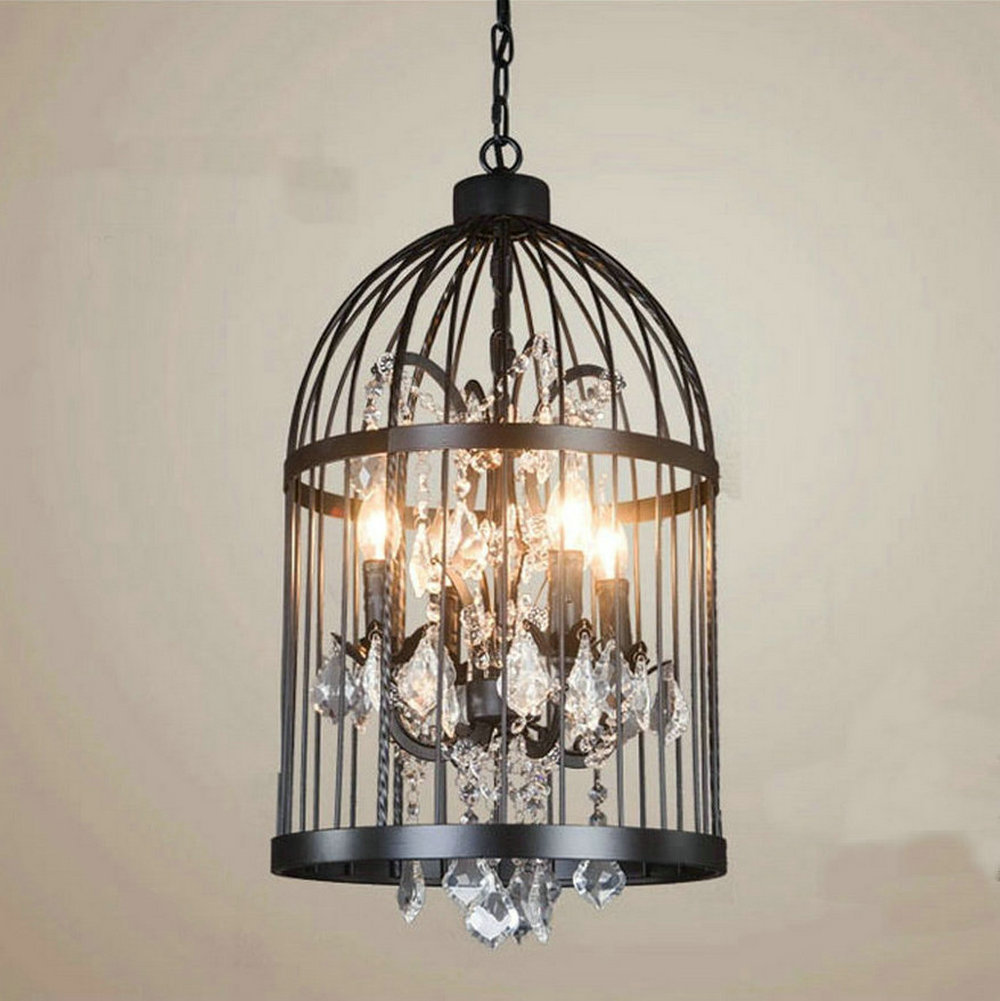 110v,220v Loft Vintage hanglamp fixtures bird cage Crystal E14 Glass and Iron Pendant Lights, Edison vintage industrial lighting new loft vintage iron pendant light industrial lighting glass guard design bar cafe restaurant cage pendant lamp hanging lights
