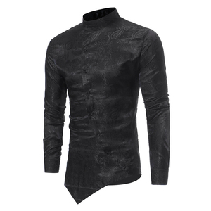 Image 5 - ペイズリー花シャツの男性 2017 ファッションゴールデン箔プリントメンズドレスシャツスリムフィット不規則な傾斜ボタンデザインシュミーズオム