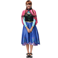2017 princesa anna elsa princesa vestido de princesa anna traje adulto neve crescer princesa anna traje cosplay para o dia das bruxas mulheres