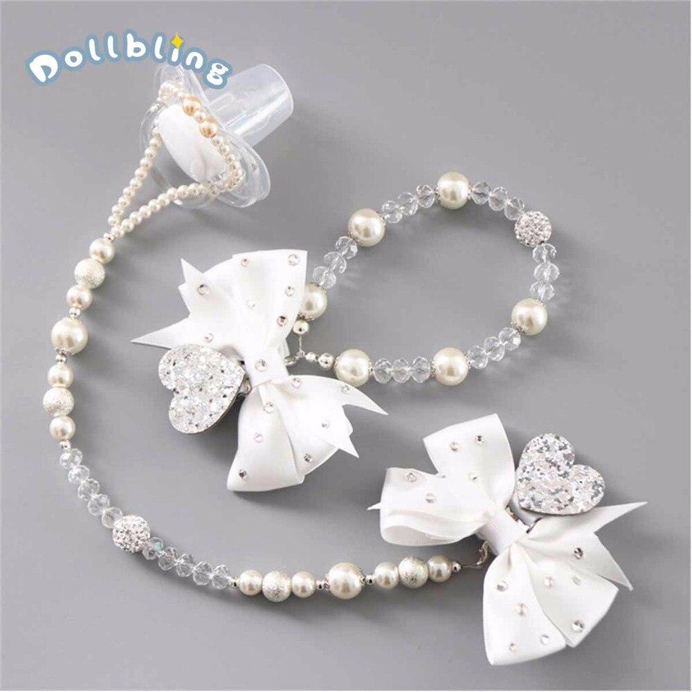 Chupete de cristal personalizado para bebé con cuentas Cadena de chupete Bowknot de diamante para bebé recién nacido regalos de cumpleaños Souvenir