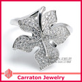 925 Sterling Silver Jewelry CZ Diamond Jewelry Gorgeous Geunine 925 Silver Maple Leaf Ring