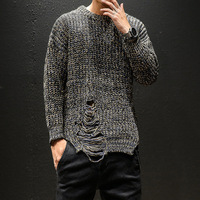 Hip Hop Wool Knitted Mens Long Sleeve Hole Pullover Knitwear Sweatshirt Dress Harajuku Hoodie M 5XL
