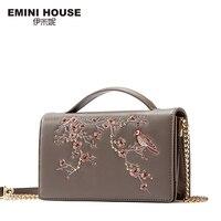 EMINI HOUSE Split Leather Luxury Handbags Women Bags Designer Women Messenger Bags Shoulder Bag Female Plum