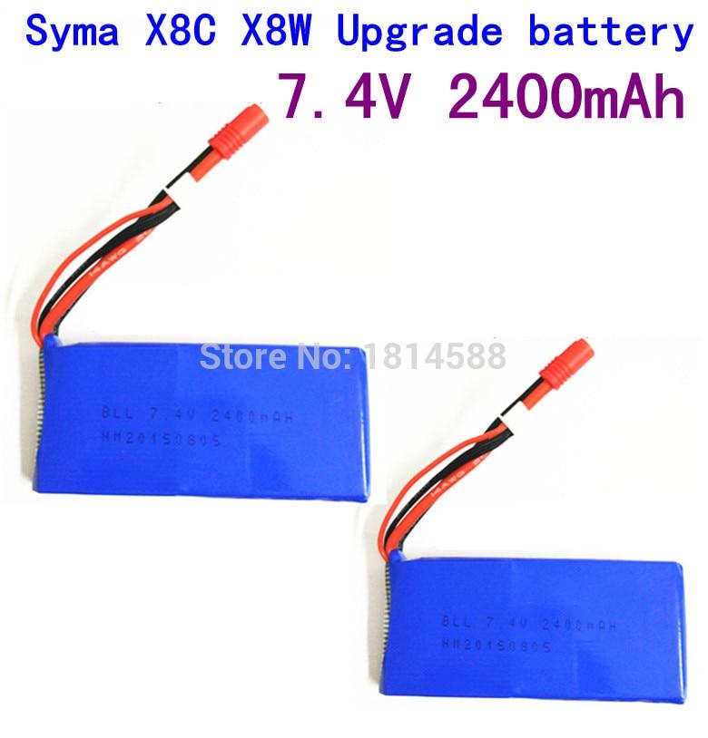 2pcs SYMA X8 X8A X8C X8C-1 X8W X8G 7.4V 2400 mAh Li-po Battery RC Quadcopter X8C X8W Spare Parts syma x8 x8c x8w x8g 2 4g rc drone quadcopter parts x8c 1 2 main body body shell 1set 2pcs lot free shipping