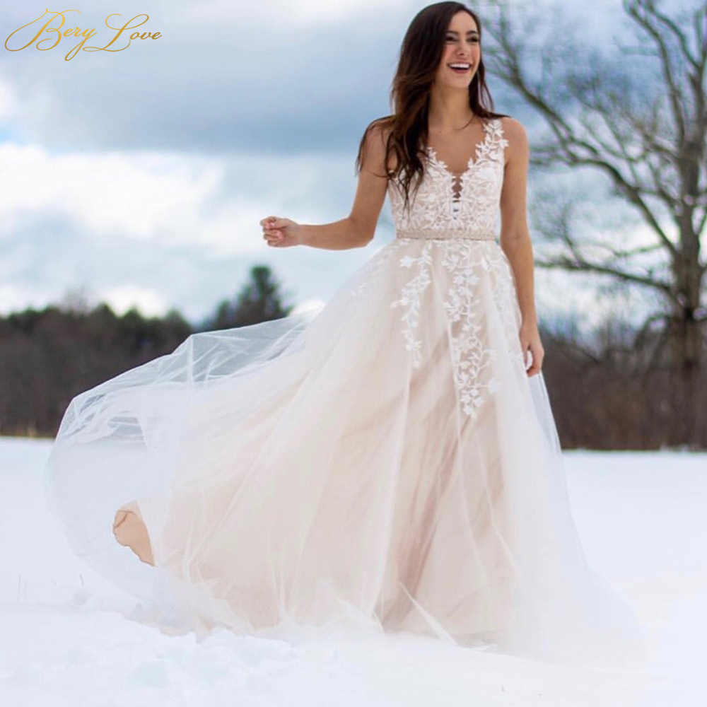 Champagne Lace Wedding Gown: BeryLove A Line Light Champagne Wedding Dresses 2019 V