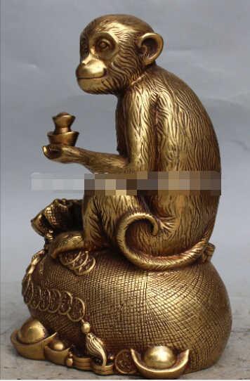 "SUIRONG---321 + + + 11 ""מסומן סיני עממי ברונזה פסל כסף תיק קוף שנה פנג שואי גלגל המזלות"