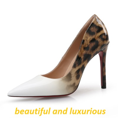 New patent leather leopard print pointed heels light mouth and narrow , color gradient nightclub sexy women shoes elegant size41New patent leather leopard print pointed heels light mouth and narrow , color gradient nightclub sexy women shoes elegant size41