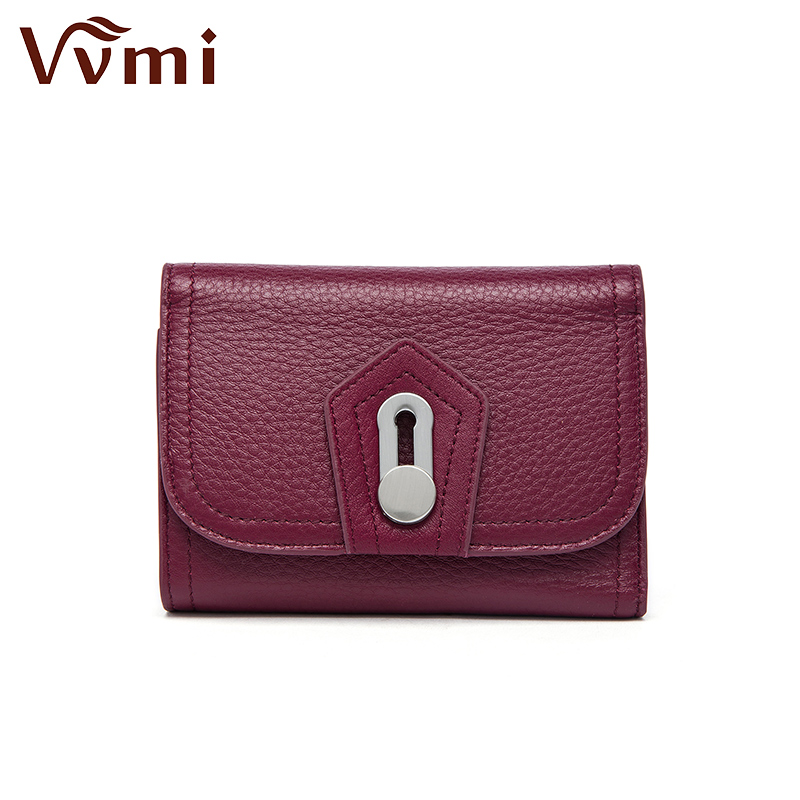 Vvmi genuine leather coin purse The wallet female seventy percent off MS short card buckle wallet simple fashion