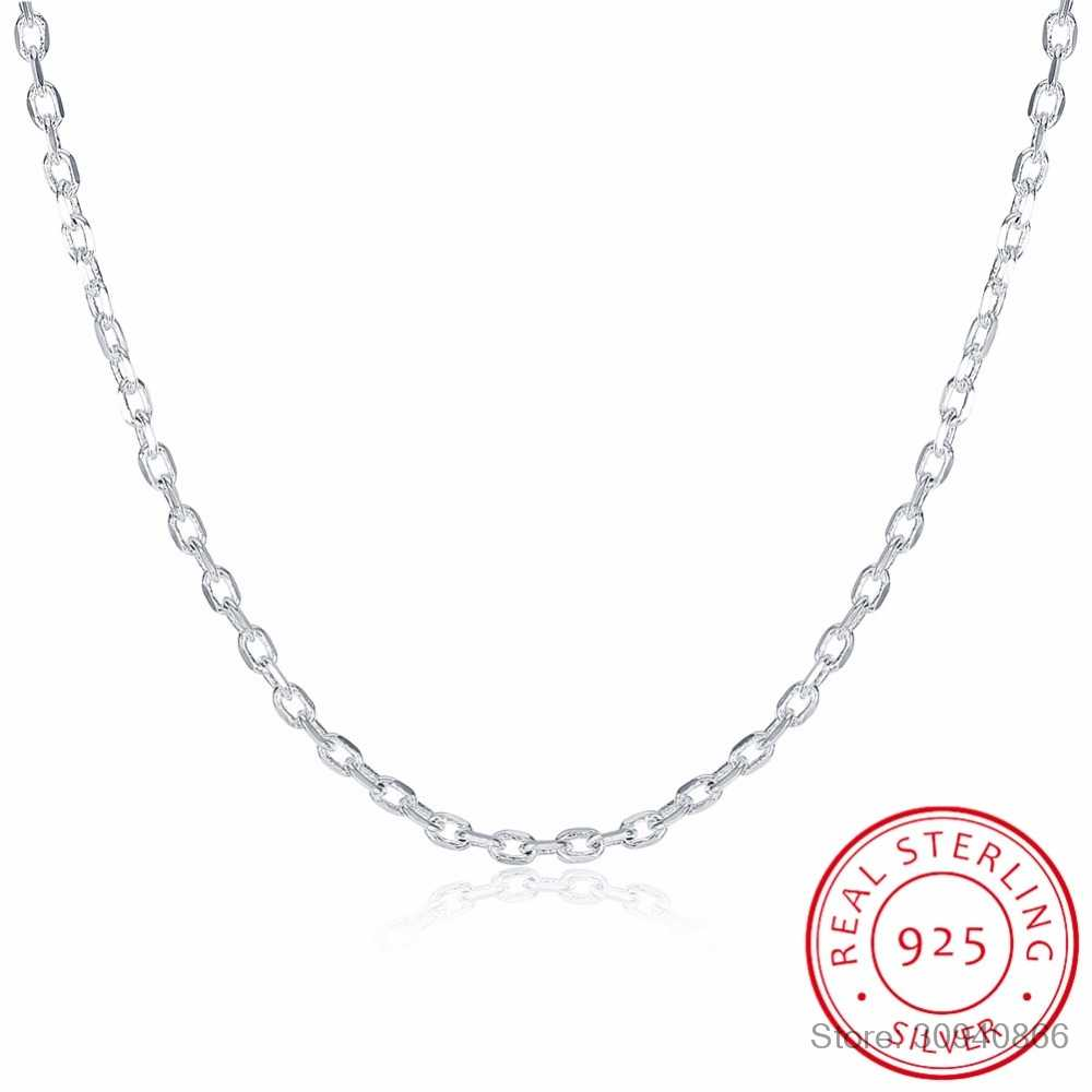"LEKANI Woman's Fine Jewelry 925 Sterling Silver Flat ROLO Chain Necklace Charm 2MM Wide Silver Necklace 16""18"" 20"" 22"" 24"""