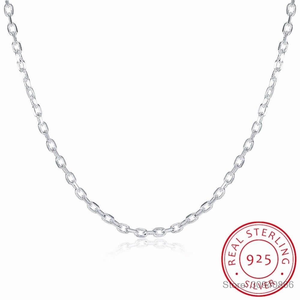 Женское Ожерелье LEKANI, из стерлингового серебра 925 пробы с плоской цепочкой ROLO, 2 мм, широкое серебряное ожерелье 16 дюймов 18 дюймов 20 дюймов 22 д...