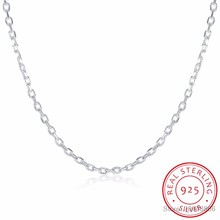 "LEKANI Woman's Fine Jewelry 925 Sterling Silver Flat ROLO Chain Necklace Charm 2MM Wide Silver Necklace 16""18"" 20"" 22"" 24""(China)"