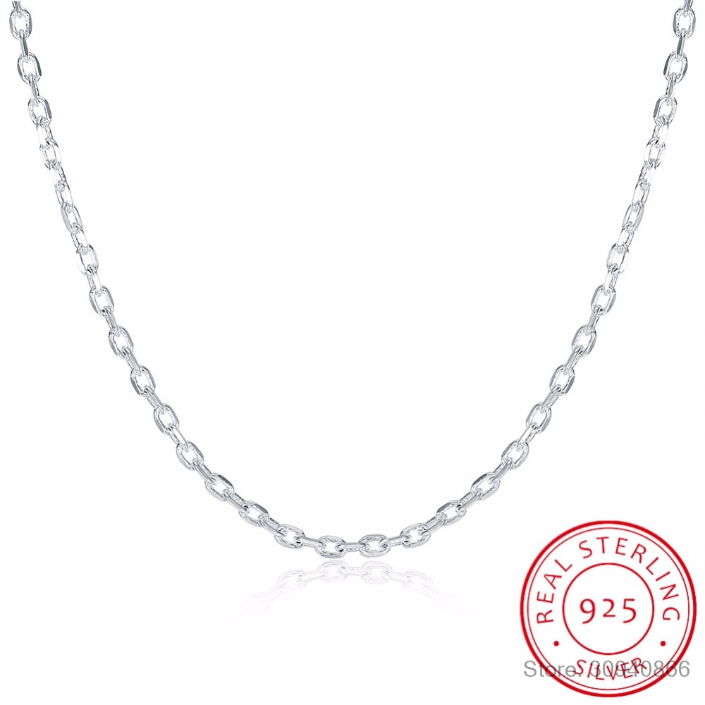 LEKANI Woman's Fine Jewelry 925 Sterling Silver Flat ROLO Chain Necklace Charm 2MM Wide Silver Necklace 16