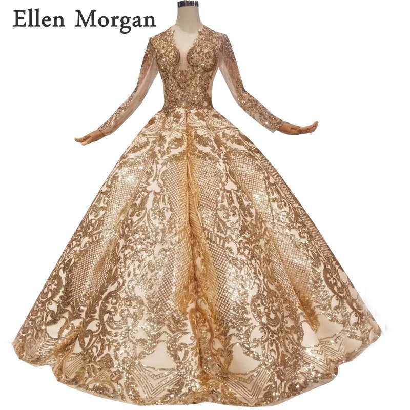 16b8f31264 Gold Glitter Ball Gowns Wedding Dresses for Women Puffy Lace up ...