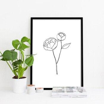 Basit Stil Beyaz Ve Siyah çizgi çizim çiçek Elle çizilmiş