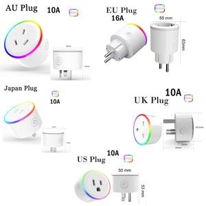 Image 5 - ASEER Tuya Smart Life plug socket,EU wifi power socket,RGB LED scene modes US mini wifi outlet,timer socket Alexa Google IFTTT