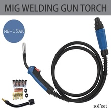 MIG/MAG Welding Torch 180A Welding Torch MIG Welding Gun 3m(10ft) Air-cooled Euro Connector MB 15AK Welding Torch