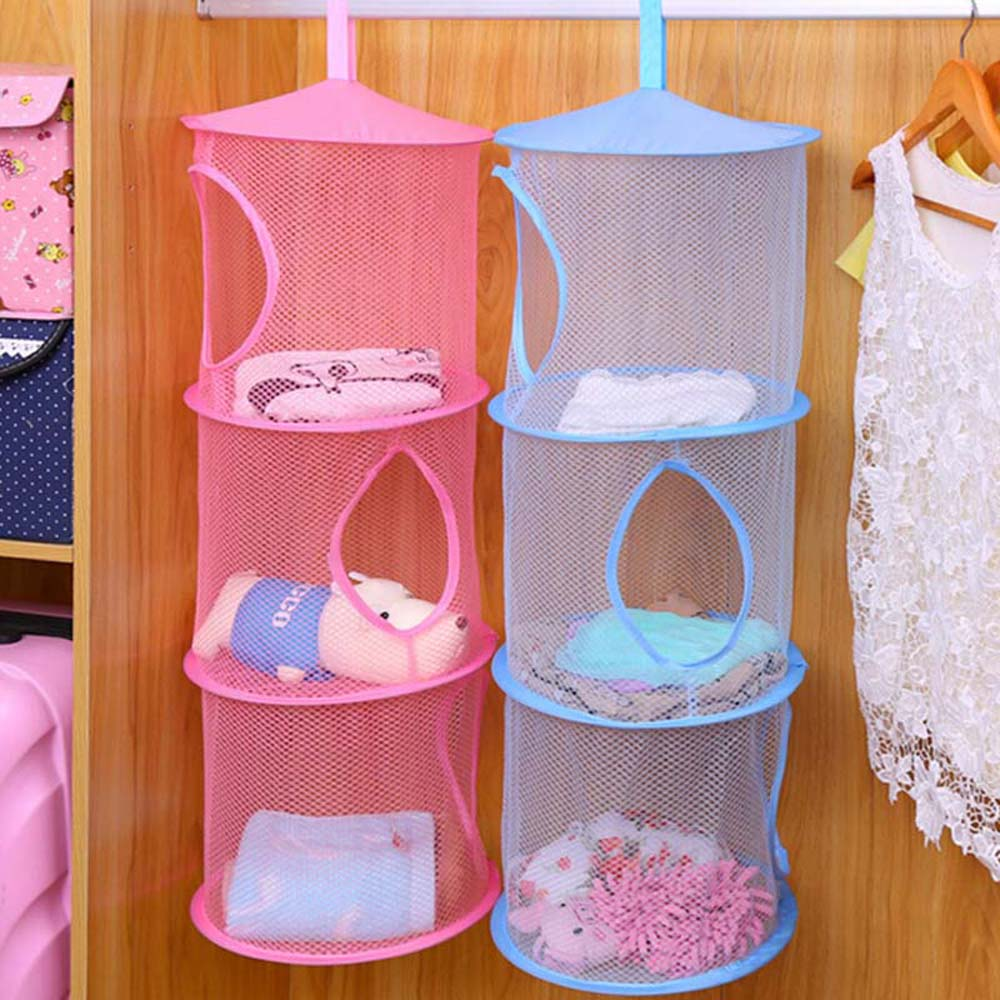 Online shop 1pc home storage 3 layers folding hanging laundry basket mesh clothes bra storage cage toy bag aliexpress mobile