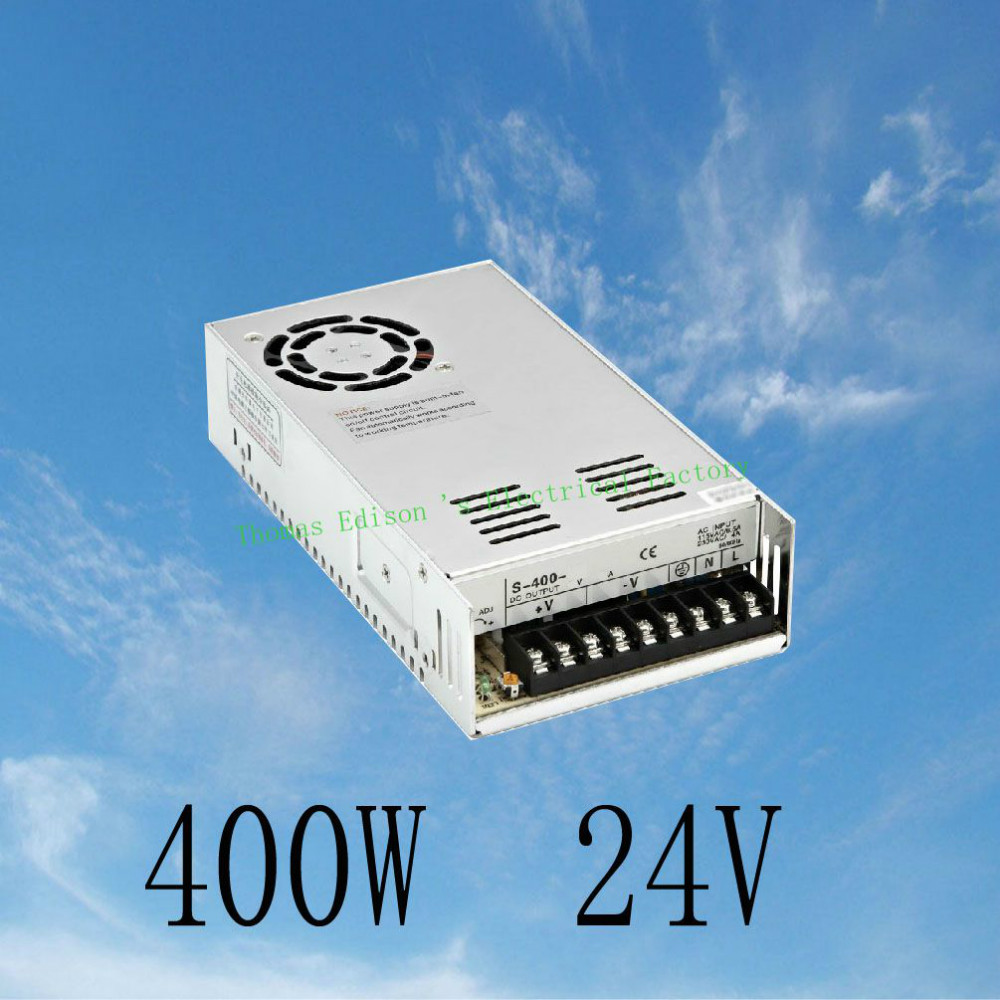 DIANQI 400W 24V 17A Single Output Switching power supply for LED AC to DC smps  24v variable dc voltage regulator S-400-24 1200w 48v adjustable 220v input single output switching power supply for led strip light ac to dc
