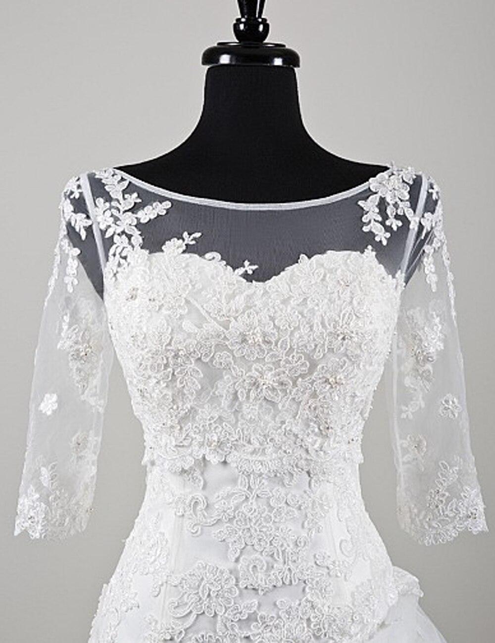 Scoop Neck Wedding Jacket Bride Bolero Top Lace Applique White Ivory Wraps Shrug