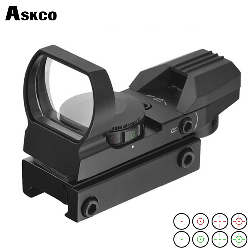 Tactical Optics 1x22 Roșu punct verde deschis reflex vedere 4 tipuri reticles pușcă pentru pistol Airsoft Weaver 11mm / 22mm airsoft.gun