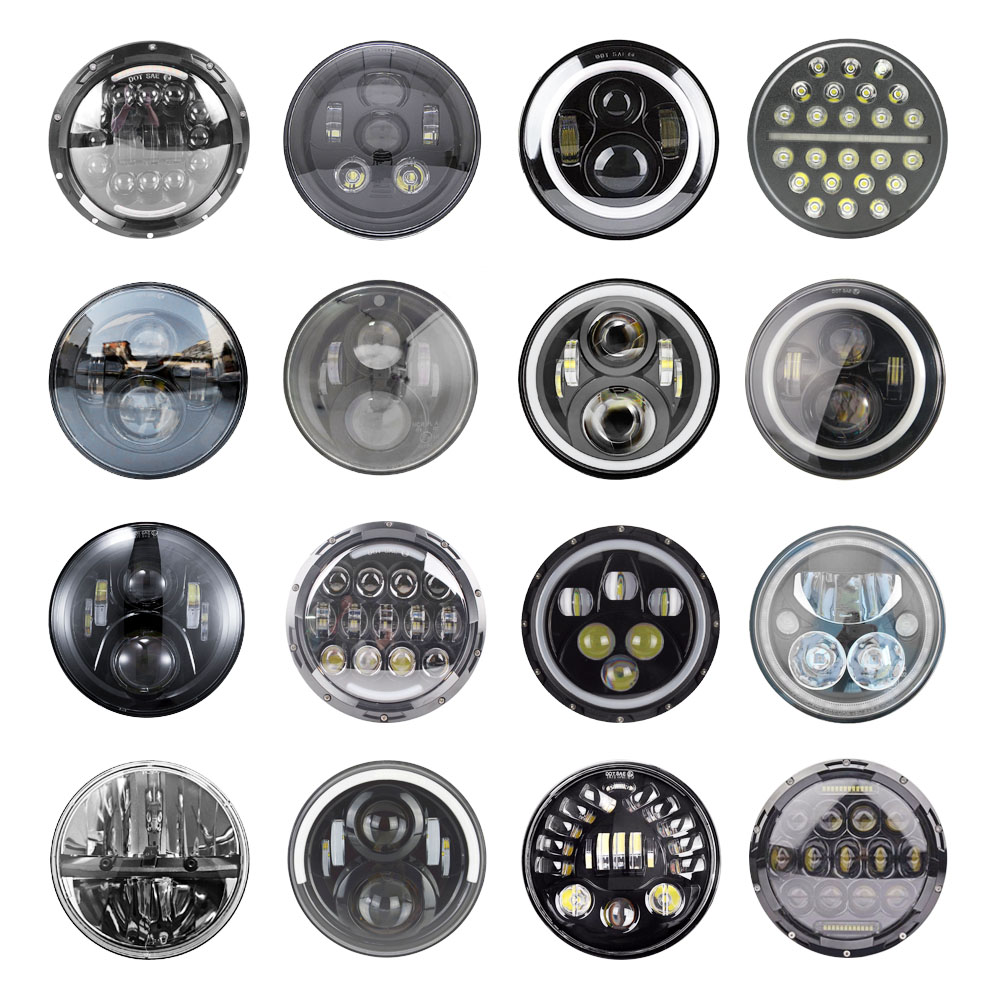 2xFor Lada Niva 7inch Led Headlight Hi Low Beam Light Halo Angle Eyes DRL Headlamp For