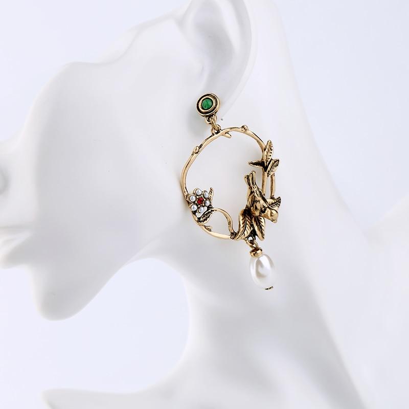 KISS ME ոսկե գույնի թռչուններ Ծաղիկներ - Նորաձև զարդեր - Լուսանկար 2