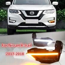 Один набор поворотов Стиль 12 В светодио дный автомобиль DRL дневные ходовые огни с противотуманной лампой отверстие для Nissan X-trail X trail Xtrail 2017 2018