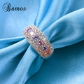 90% OFF ! Bamos Female Princess Pink Ring 925 Silver Filled Vintage Wedding Rings For Women Crystal Fashion Jewelry