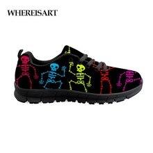 WHEREISART Mens Lace Up Shoes Dancing Skeleton Print Men Cushioning Walking Flats Sneakers Male Autumn Teen Boys
