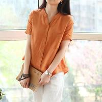 2015 Blusas Plus Size Roupas Femininas Women Blouse New Button Summer Wearing Short Sleelved Shirt Loose