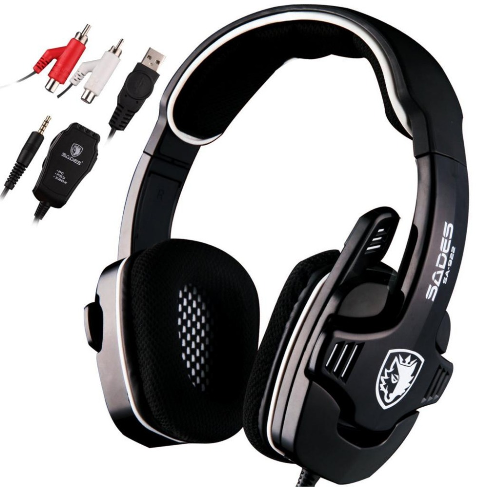 все цены на Sades SA-922 3 in 1 Professional Gaming Headset 7.1 Stereo Sound USB Headphones Microphone for PS3/XBOX/PC Fone Gamer Earphone онлайн