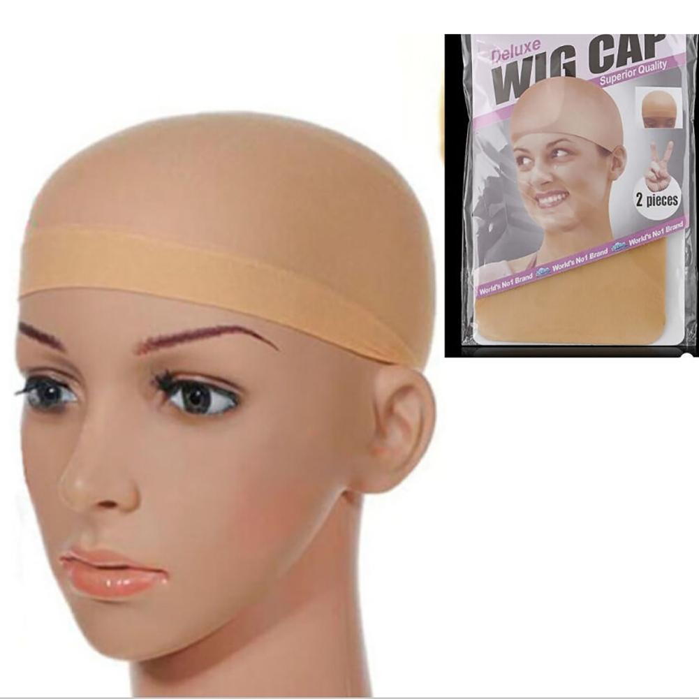 2pcs Women Mens Nylon Elastic Wig Caps Glueless Hair Mesh Net Liner Stretch Nylon Snood casque pour cheveux chauffant