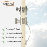 Probrico квадратный дверные замки одного цилиндра ригели ключом Lockset ручка Handleset Никель оборудование для передней двери, ворота