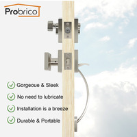 Probrico Square Door Locks Single Cylinder Deadbolts Keyed Lockset Grip Handle Handleset Nickel Hardware For Front Door Gate