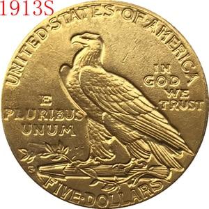 Позолоченная индийская монета с изображением орла 24-к 1913-S $5, бесплатная доставка
