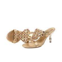 Women Rhinestone High Heel Slippers Party Shoes Open Toe Slip On Luxury Summer Diamond  High Heel Sandals Big Size 43 44
