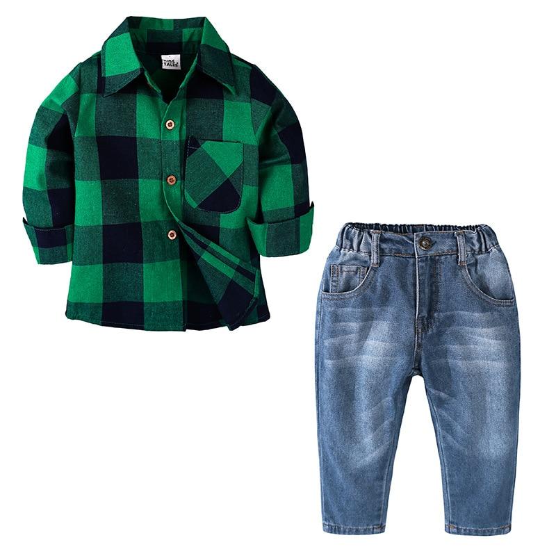 Spring Autumn Toddler Boy Clothes Set Children Clothing Sets Products Kids Clothes Baby Boys Plaid Shirts+Jeans 2PCS Tracksuit