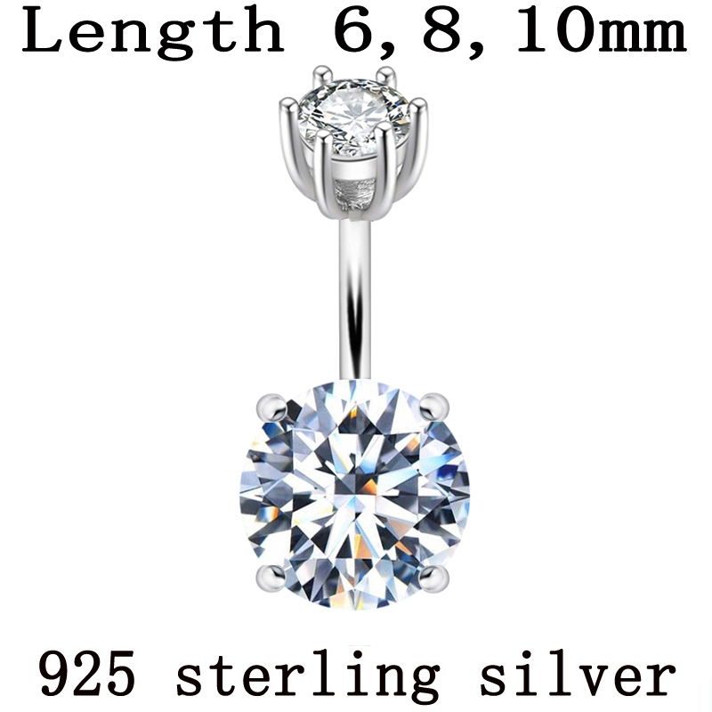 Belly Button Ring 925 Pure Silver Body Piercing Women Real Genuine Silver Round Zircon Stone Clear Navel Bar Body Jewelry 1pc