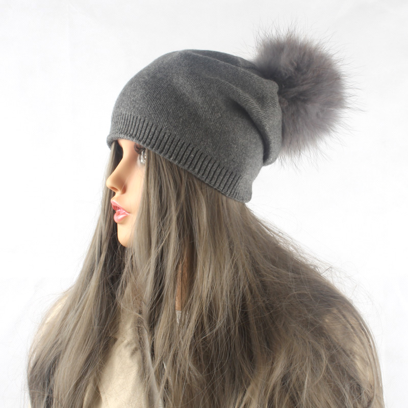 Musim dingin Musim Gugur Pom Pom Beanies Topi Wanita Rajutan Wol - Aksesori pakaian - Foto 4