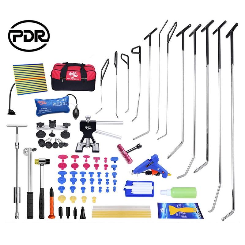 PDR Kits Paintless Dent Repair PDR Hooks Push Rods Reflector Board Tools For Dent Removal Car Dent Repair Hail Damage Repair