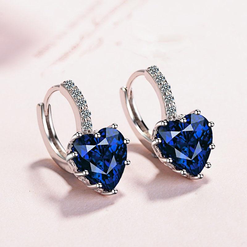Fashion Statement bijoux 9 Color Cute Romantic 925 Sterling Silver Crystal love heart Stud Earrings for Women Wedding Earring