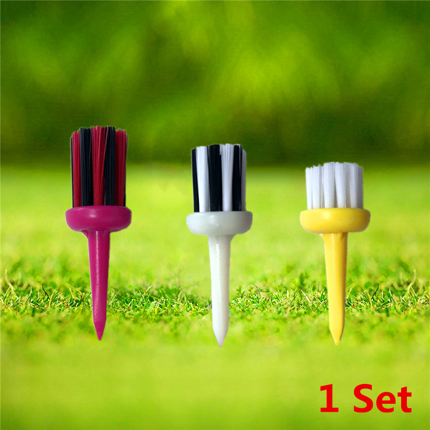 Golf Brush Club Brush Tees Different Size 3 Colors Driver Training Aid Accessory Tool Ball Holder Nylon Friction 3 Pcs/Set