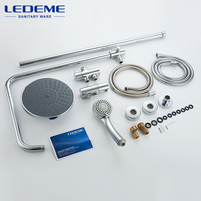 LEDEME New Bathroom Shower Classic Bathroom Shower Faucet Bath Faucet Mixer Tap With Hand Shower Head Set Wall Mounted L2400