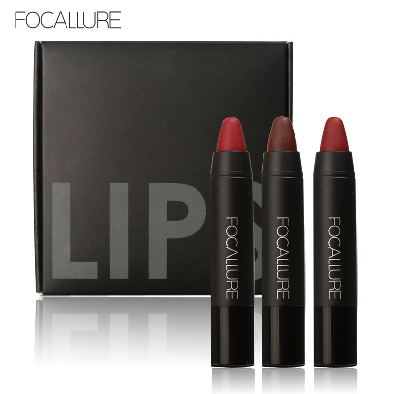 FOCALLURE kalis air yang tahan lama Velvet Merah Tatu bogel Matte True Brown Warna Pensil Gincu Crayon Lot solek 3Pcs / Set