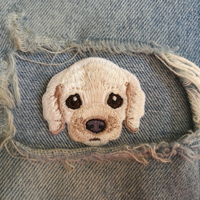1 PIC 4.4*3.9CM Embroidered Cloth Embroidered Cartoon DIY Cocker Spaniel DOG Clothing Decorative Patch